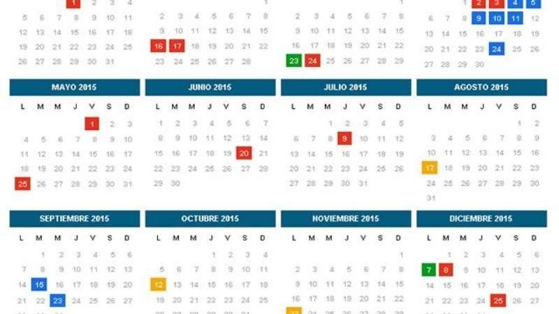 Un 2015 cargado de feriados y fines de semana largos