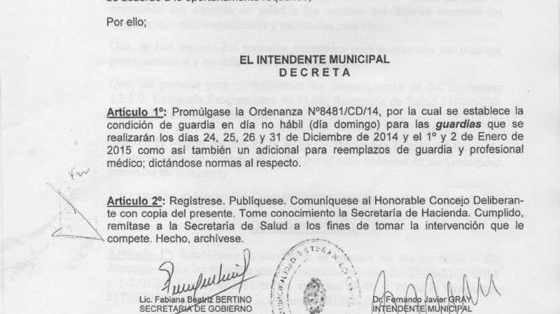 El Municipio pagará 5 mil pesos a las guardias hospitalarias en las fiestas