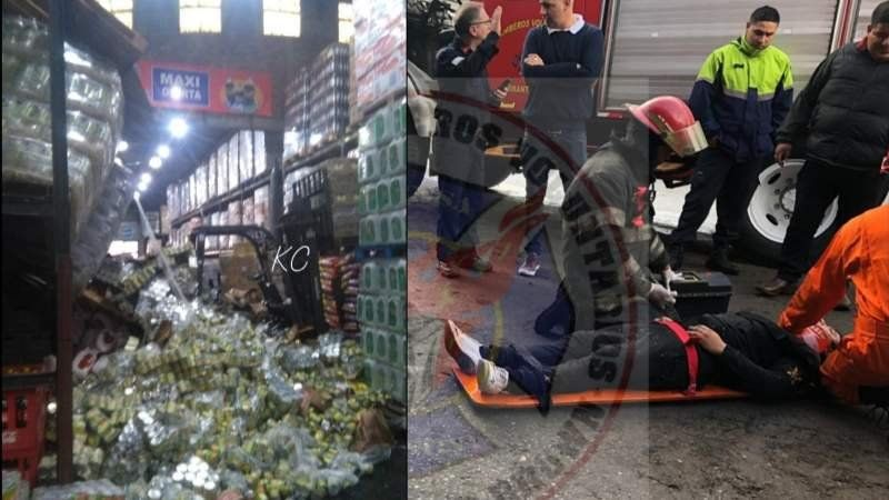 Cayeron las estanterías de un supermercado y un empleado quedó atrapado