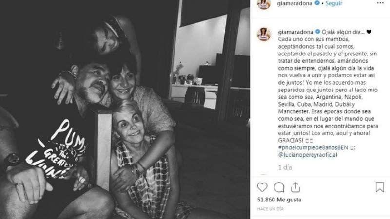 Gianina Maradona y su sorpresivo mensaje a su familia