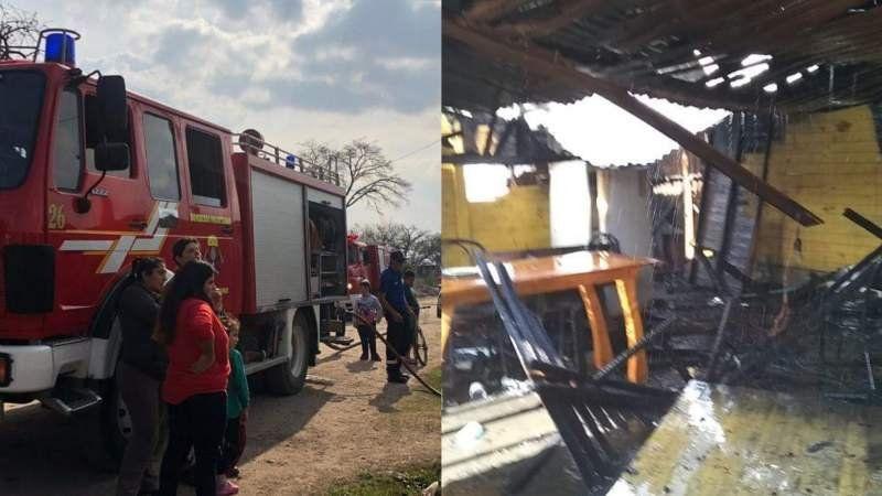 Incendio desgarrador en una vivienda humilde de Claypole