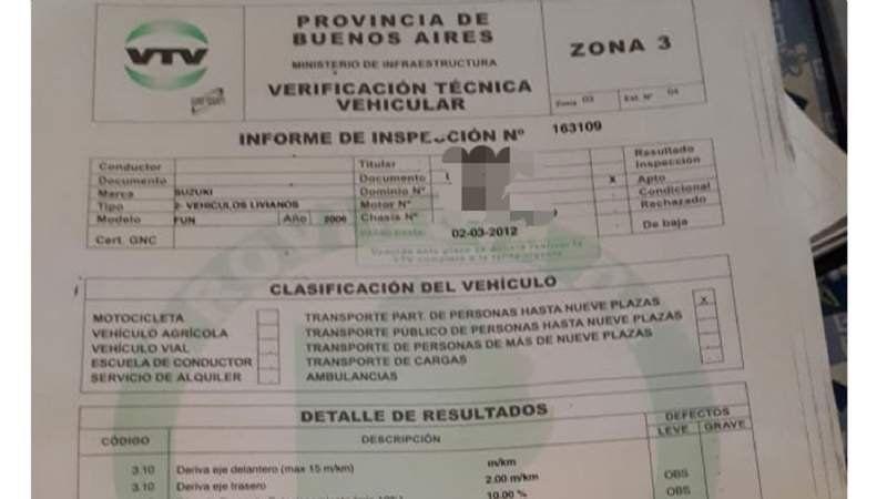 Claypole: un detenido acusado de falsificar certificados de VTV