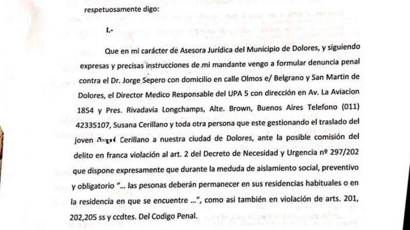 El intendente de Dolores denunció al UPA de Longchamps por el paciente con coronavirus