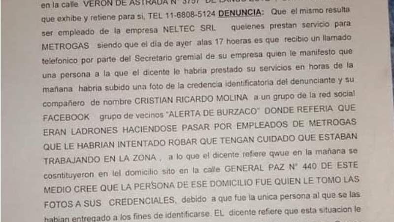Adrogué: Empleado de MetroGas emite una denuncia penal por ser acusado de ladrón