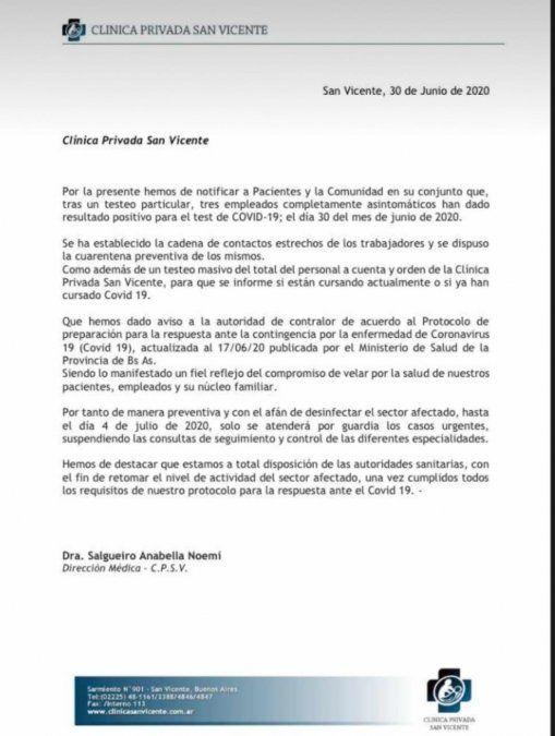 Clínica Privada San Vicente: confirman casos de coronavirus entre el personal