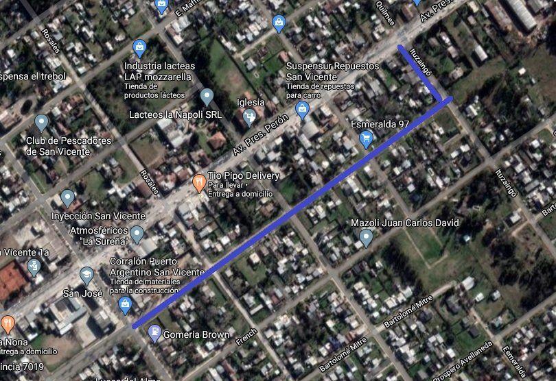 Los 400 metros de 9 de Julio y los 100 metros de Ituzaingó que serán asfaltados, en el centro de San Vicente.