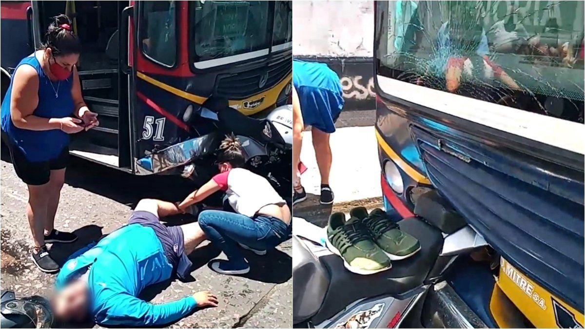 Fuerte choque entre un colectivo y una moto en Lomas de Zamora