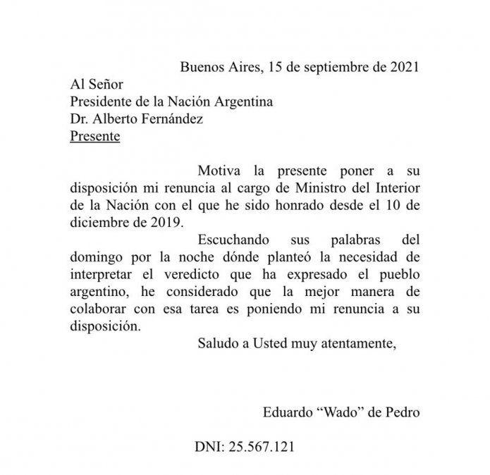 Wado de Pedro presentó su renuncia a través de un comunicado.