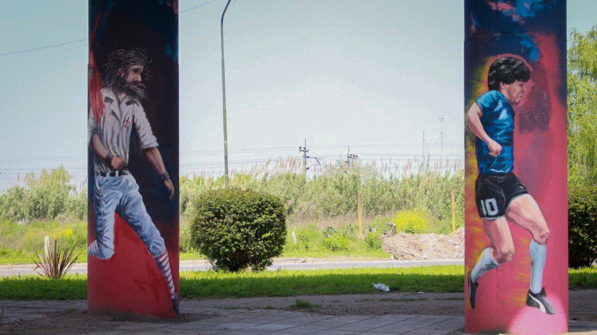El Gol del Siglo de Diego Maradona, plasmado en un mural en movimiento en Claypole