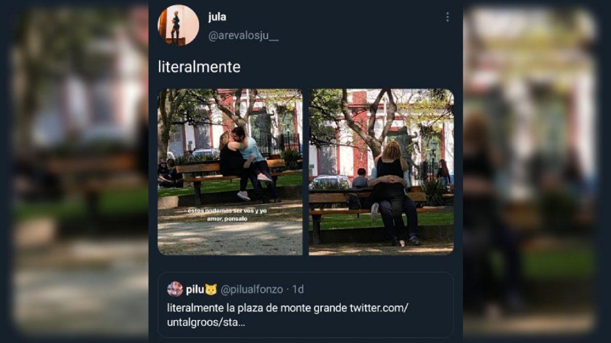 Los besos en la plaza de Monte Grande, viral en las redes