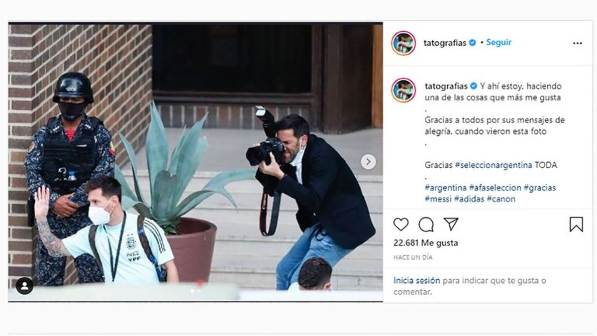 Tato Pagano, el fotógrafo que le prestó la pechera a Messi.