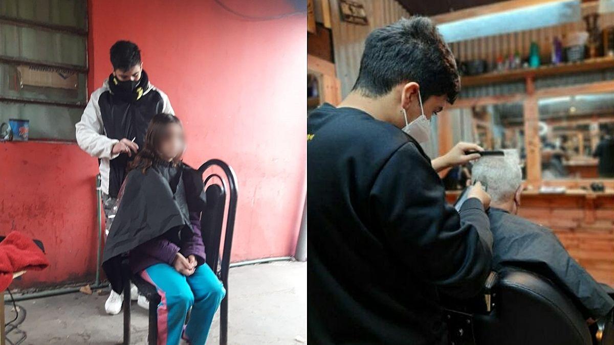 Tiene 15 años y es peluquero enLlavallol: ayuda a su familia y a los que más necesitan
