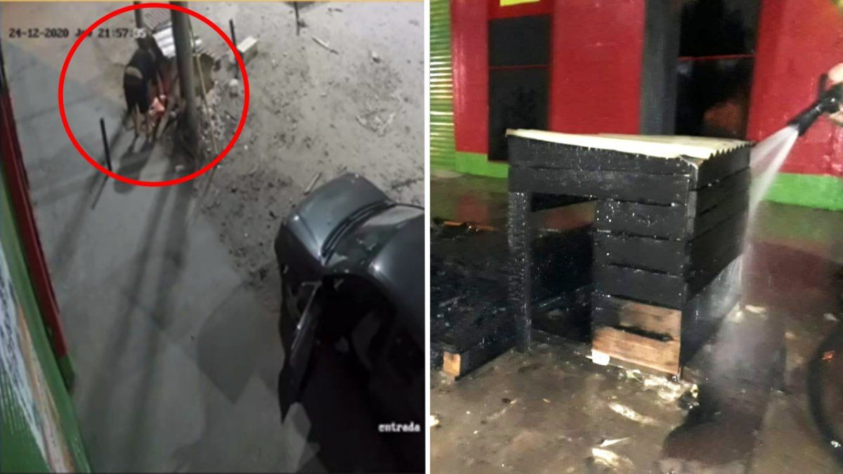 Prendió fuego el hogar de dos perros y quedó filmado