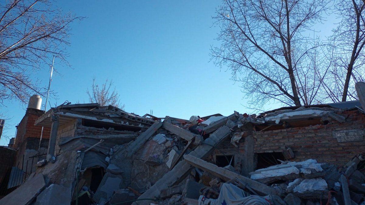 Así quedaron las viviendas tras el derrumbe. Dos mujeres perdieron la vida.