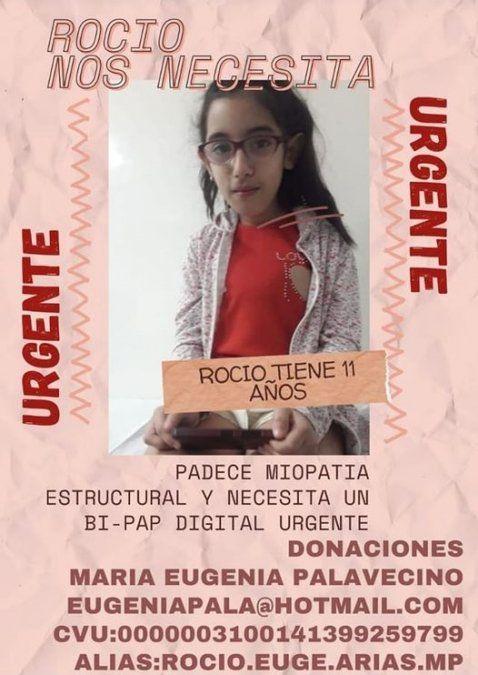 Todos por Rocío, la campaña que comenzaron en las redes para ayudar a la pequeña de Rafael Calzada.