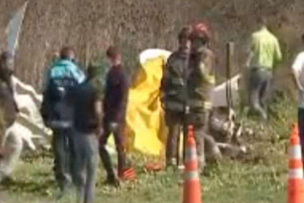 La avioneta se estrelló junto a la autopista Buenos Aires - La Plata.