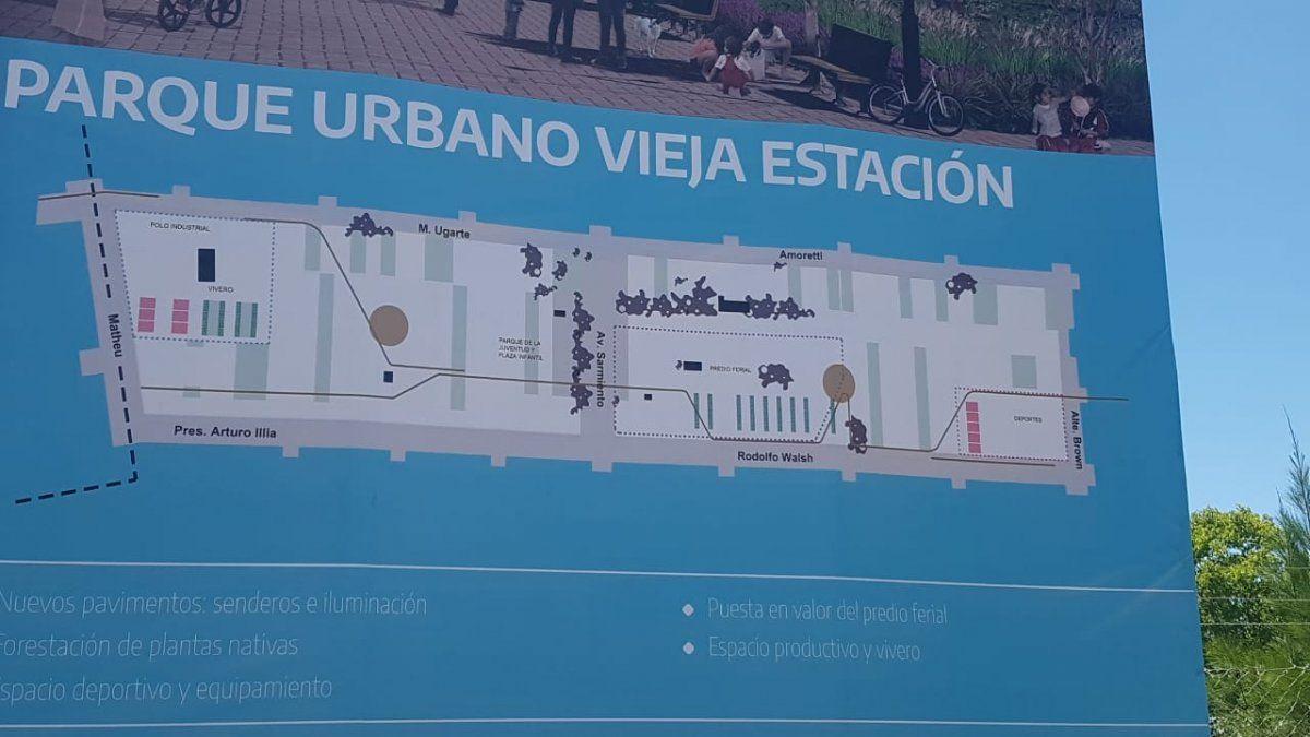 Las líneas generales del proyecto que presentó hoy Mantegazza, en un cartel colocado en los últimos días en la estación de San Vicente.