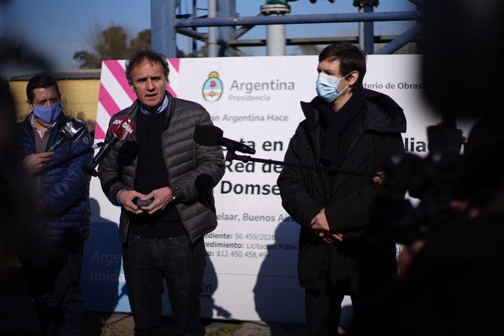 Mantegazza y Katopodis pusieron en marcha obras de agua en Domselaar