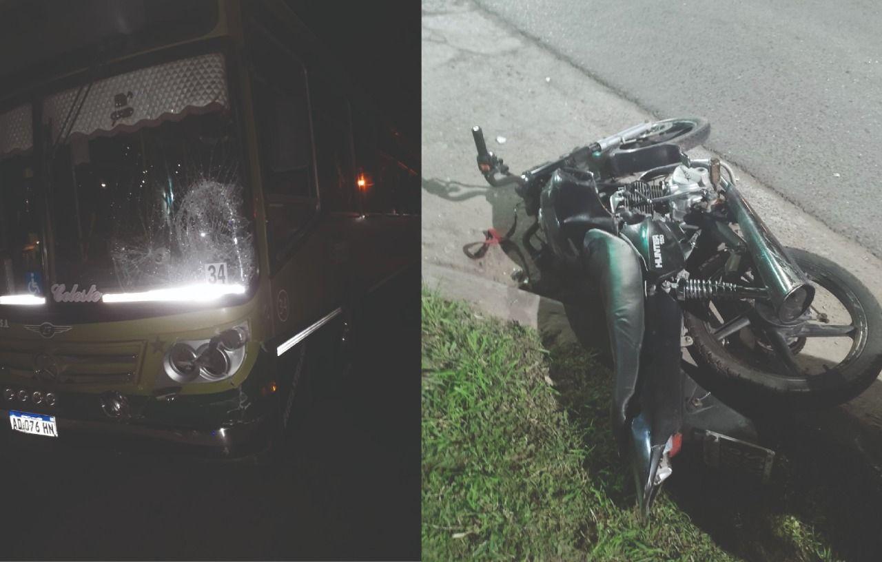 longchamps: fuerte choque entre una moto y un colectivo dejo a dos heridos graves