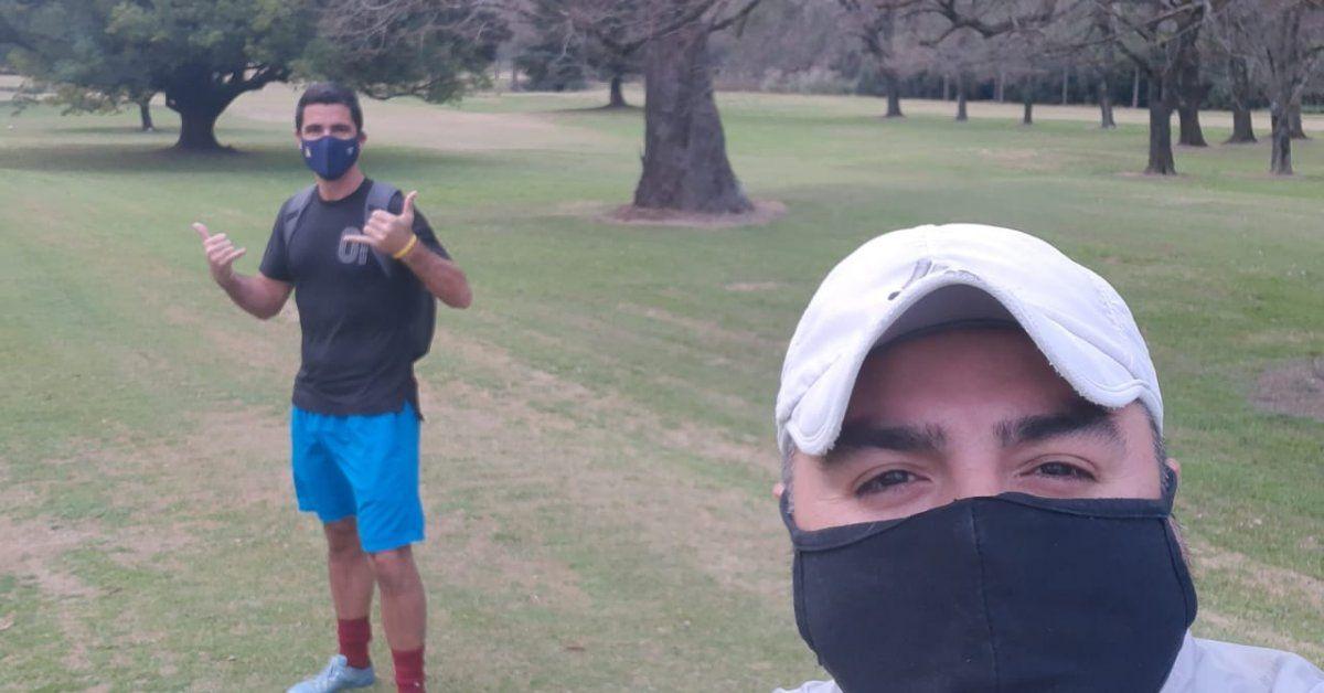 Guillermo Sandoval en la vuelta a las canchas de footgolf en Pilar.