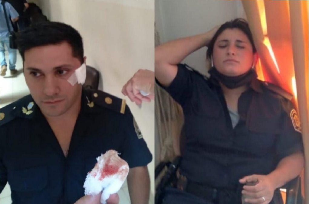 Dos policías heridos en la manifestación en San Vicente