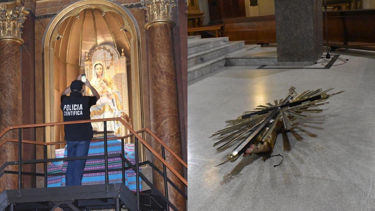 Robo y destrozos en la Catedral de Lomas de Zamora: se llevaron las coronas de la Virgen y el Niño Jesús