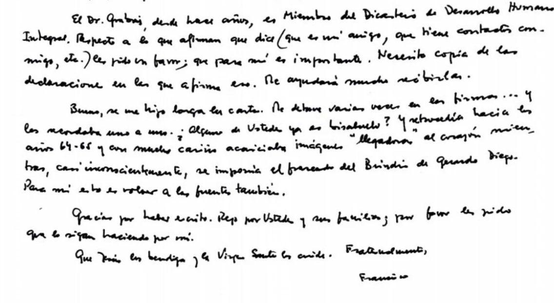 La carta del Papa Francisco: la política argentina, los medios, Cristina, Macri y Grabois