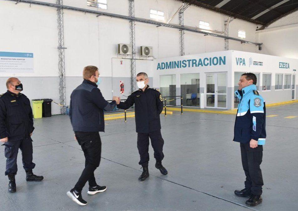 Gastón Granados dijo presente en la nueva planta de Verificación Policial de Ezeiza.