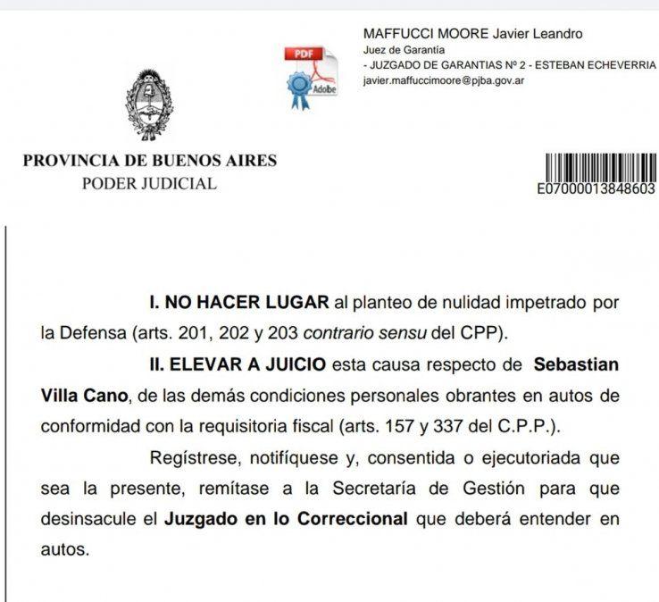 Canning: Sebastián Villa irá a juicio por violencia de género