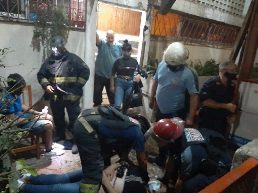 Derrumbe en un edificio de Brown: cuatro personas resultaron heridas