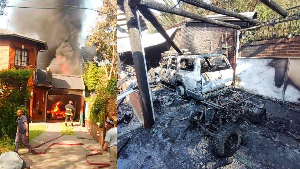 Se incendió un garaje en Monte Grande con vehículos dentro