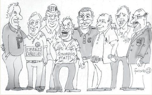 Ilustración de Edgardo Fornero: la barra de amigos de Canning protagonista de Pitón, Gorostodi y los otros