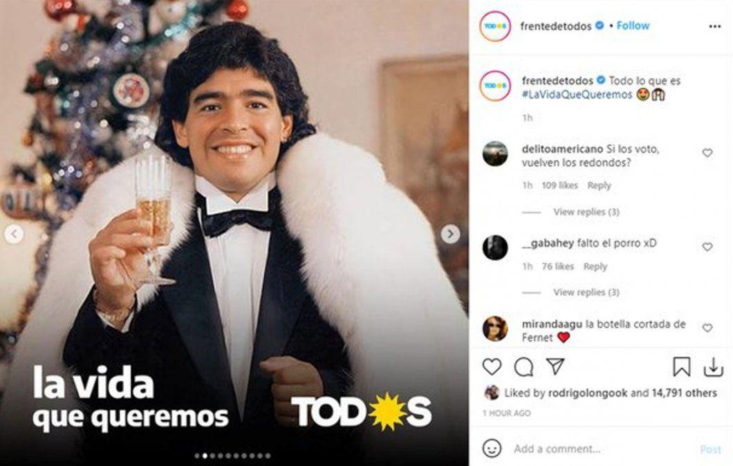Polémica por una campaña del Frente de Todos con imágenes de ídolos populares