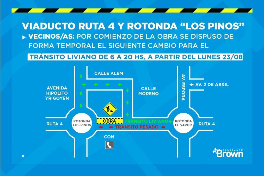 Por obras, habrá interrupciones de tránsito en la rotonda de Los Pinos en Burzaco