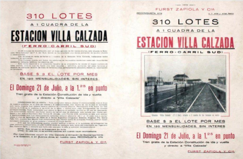 Imagen del loteo de la entonces Villa Calzada que luego se denominaría en honor al doctor Rafael Calzada