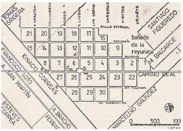 El origen de Lomas de Zamora: así fue el primer reparto de chacras que hizo Tomás Grigera en 1821. (Esquema de Alberto S. J. De Paula)