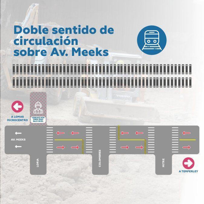 Así quedará la circulación por las obras en Lomas de Zamora.