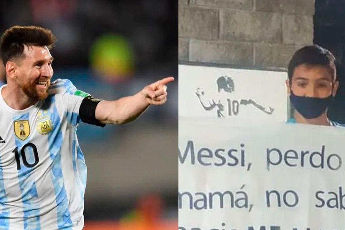Messi, perdoná a mi mamá: el cartel viral de un niño en Ezeiza