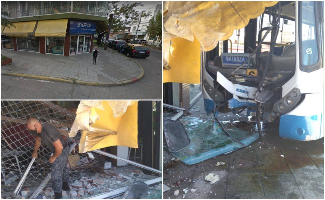 Un colectivo chocó contra un negocio en Remedios de Escalada.