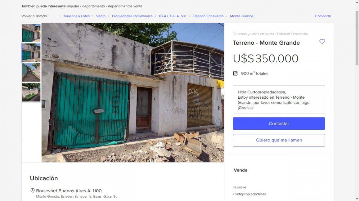 Pusieron en venta la casa donde ocurrió la Masacre de Monte Grande